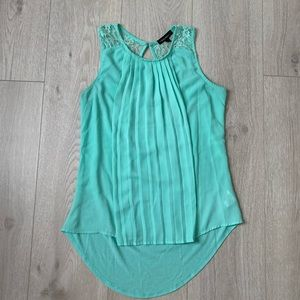 Sea foam green pleated and lace blouse